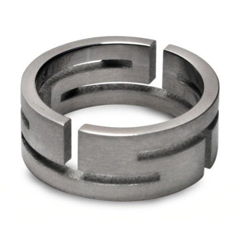 Steel Aztec Cutout Mens Fashion Ring