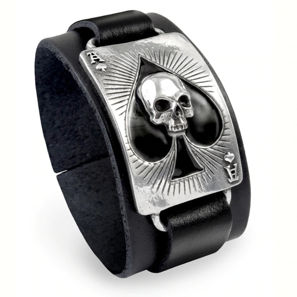 Ace Of Dead Spades Skull Playing Card Mens Leather Bracelet by Alchemy Gothic