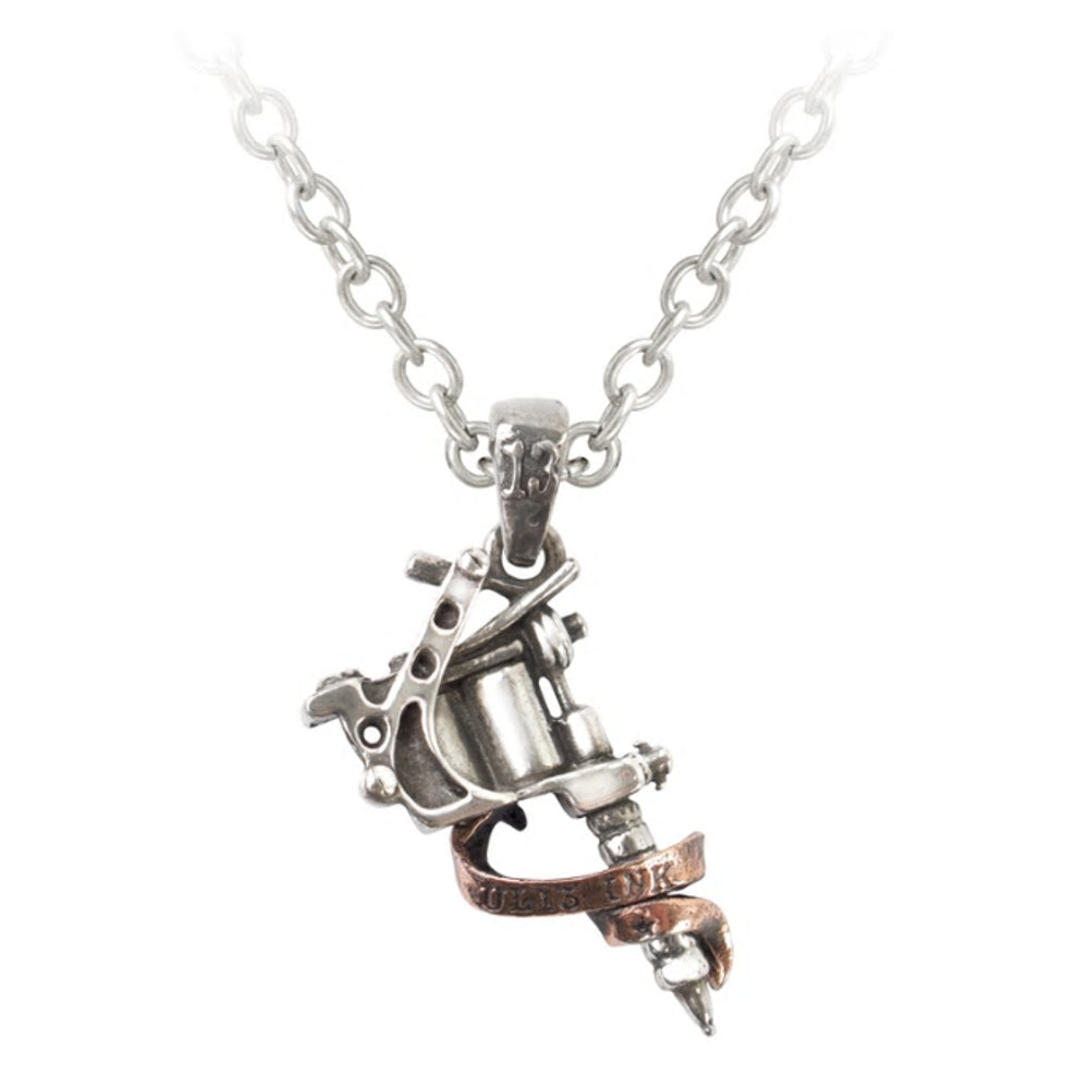 Tattoo Gun Pendant Necklace by Alchemy Gothic