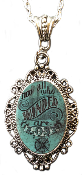 "Alkemie ""Not All Who Wander Are Lost"" Cameo Pendant Necklace"