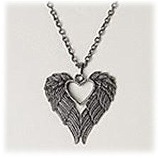 Winged Heart Pendant Necklace with Chain, Antique Finish