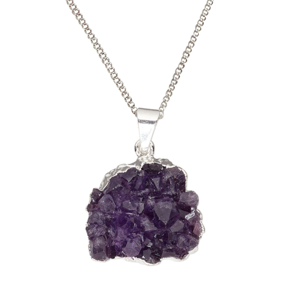 Natural Purple Amethyst Crystal Druzy Hand-cut Freeform Gemstone Silver Plated Pendant Necklace