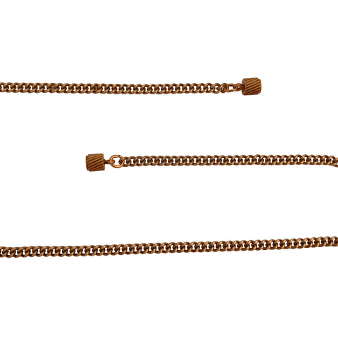 Antique Copper 3mm Curb Chain Necklace with Magnetic Clasp and Extra Durable Color Protect Finish