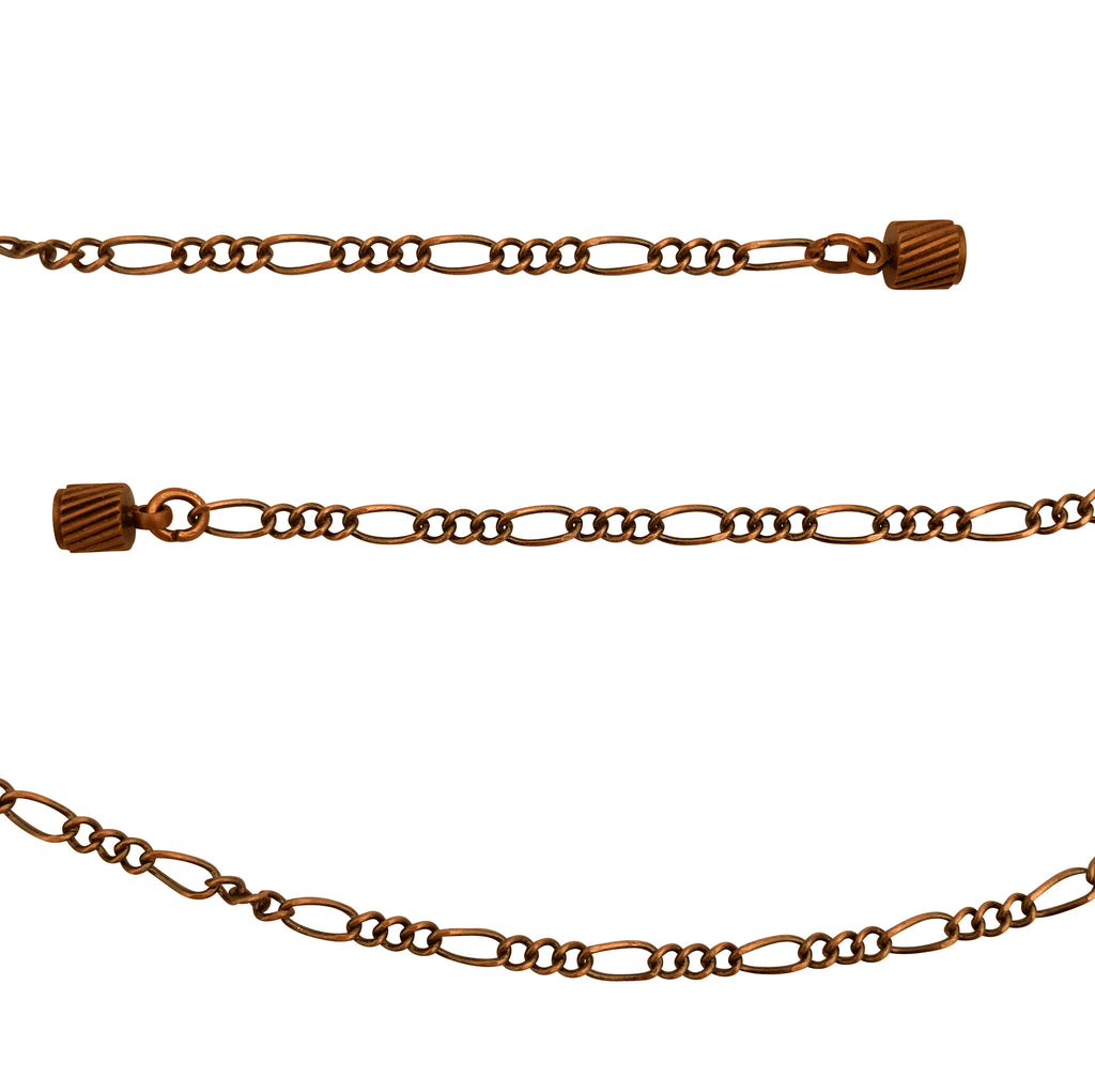 Antique Copper 2.3mm Figaro Chain Necklace with Magnetic Clasp and Extra Durable Color Protect Finish