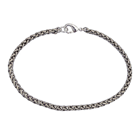 Antique Silver 3.2mm Thick Ponytail/Foxtail/Wheat Weave Chain Bracelet