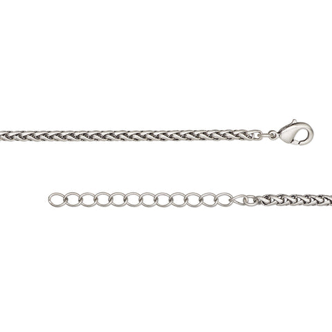 Antique Silver 3.2mm Thick Ponytail/Foxtail/Wheat Weave Necklace Chain with Extender