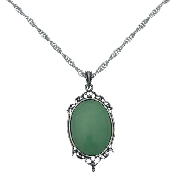 Antique Silver Aventurine Gemstone Cabochon Pendant on Fancy Rope Chain Necklace, 24""