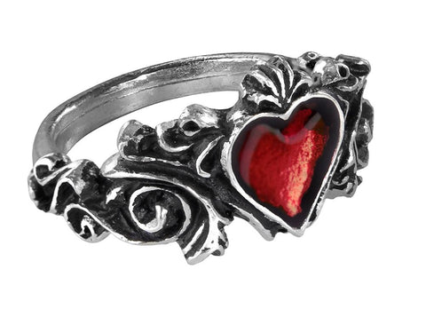 Betrothal Ring with Red Heart by Alchemy Gothic