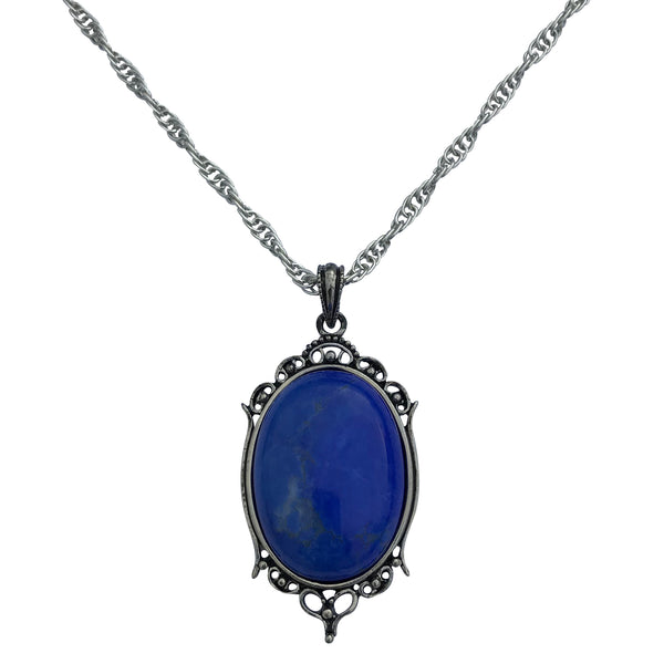 Antique Silver Blue Howlite Gemstone Cabochon Pendant on Fancy Rope Chain Necklace, 24""