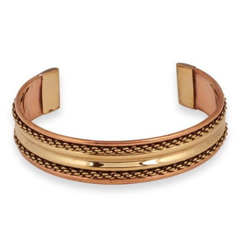 Brass Inlay Copper Braid Cuff Bracelet