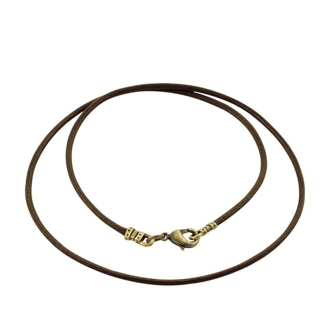 Antique Brass 1.8mm Fine Brown Leather Cord Necklace