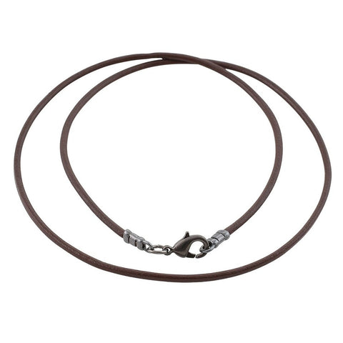 Gunmetal 1.8mm Fine Brown Leather Cord Necklace