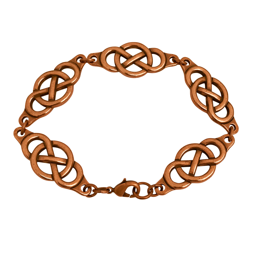 Reversible Antique Copper Plated Celtic Knot Infinity Link Bracelet - 8 Inches