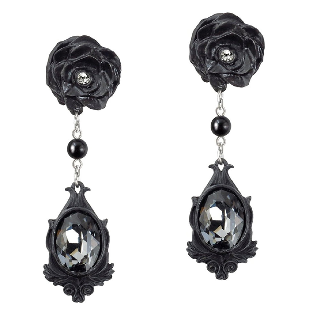 Dark Desires Crystal Earrings with Black Roses by Alchemy Gothic