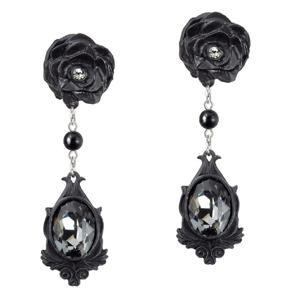 Dark Desires Earrings with Black Roses by Alchemy Gothic