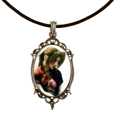 "Aerith/Aeris Final Fantasy VII Anime Antique Silver Cameo Pendant on 18"" Black Leather Cord Necklace"