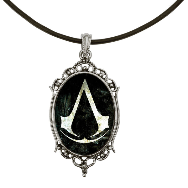 "DragonWeave Assassin's Creed Game Symbol Antique Silver Cameo Pendant on 18"" Black Leather Cord Necklace"