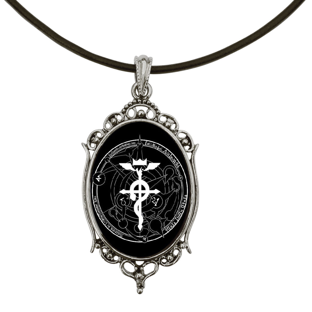 "DragonWeave White Fullmetal Alchemist Symbol Anime Antique Silver Cameo Pendant on 18"" Black Leather Cord Necklace"