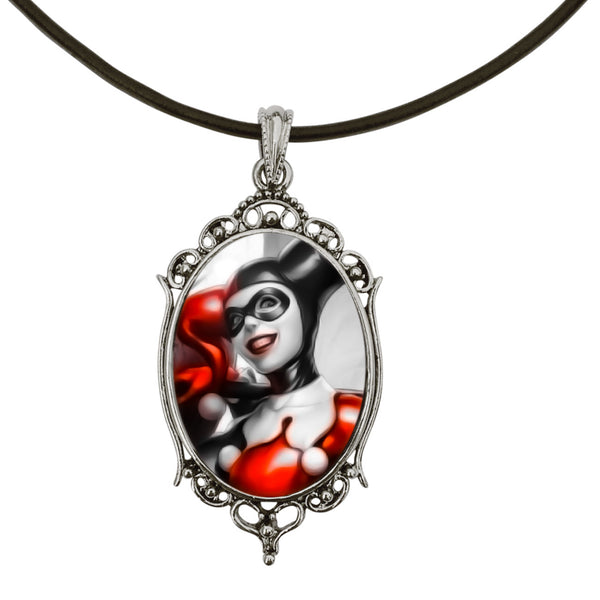 "DragonWeave Harley Quinn Classic Portrait Antique Silver Cameo Pendant on 18"" Black Leather Cord Necklace"