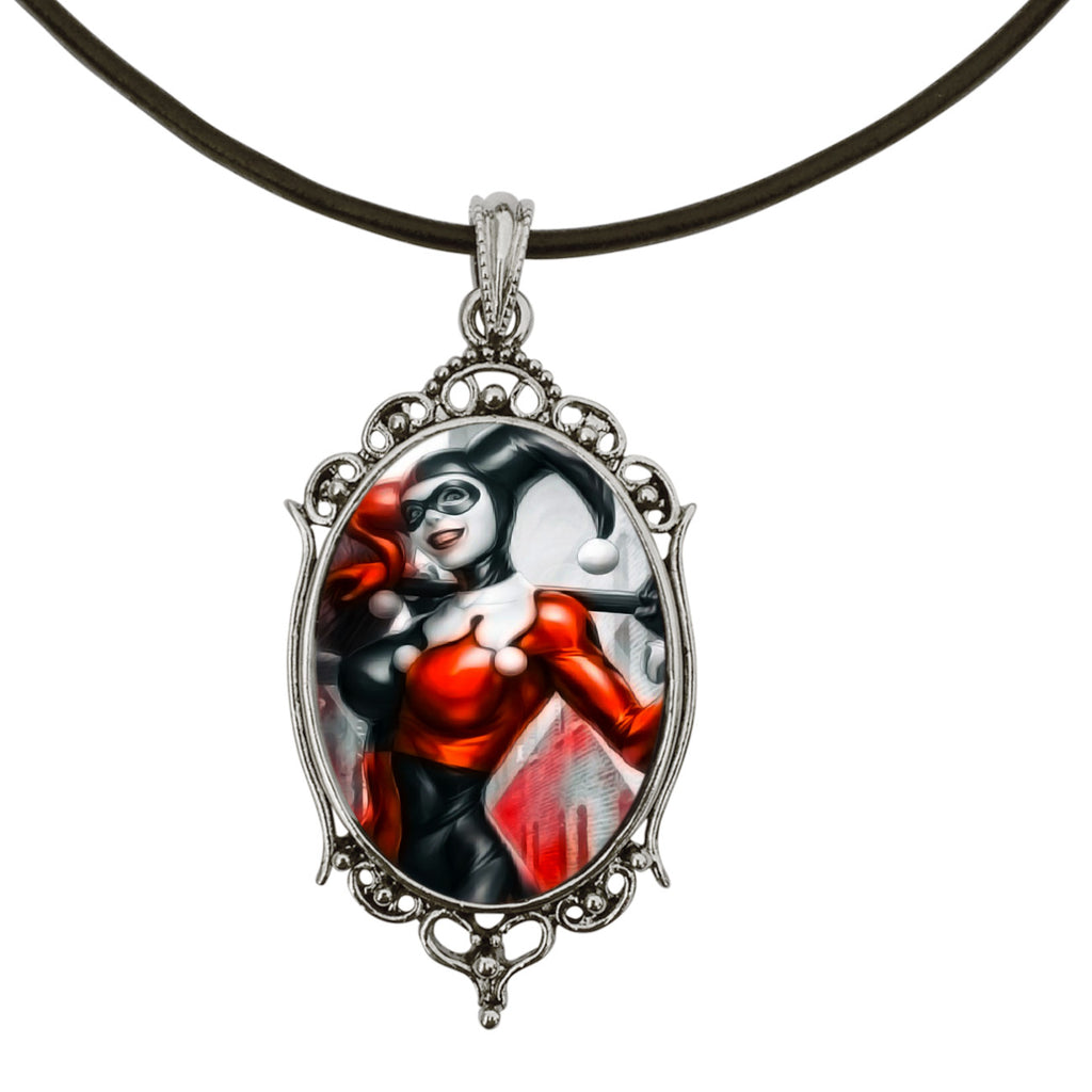 "Harley Quinn Classic Antique Silver Cameo Pendant on 18"" Black Leather Cord Necklace"