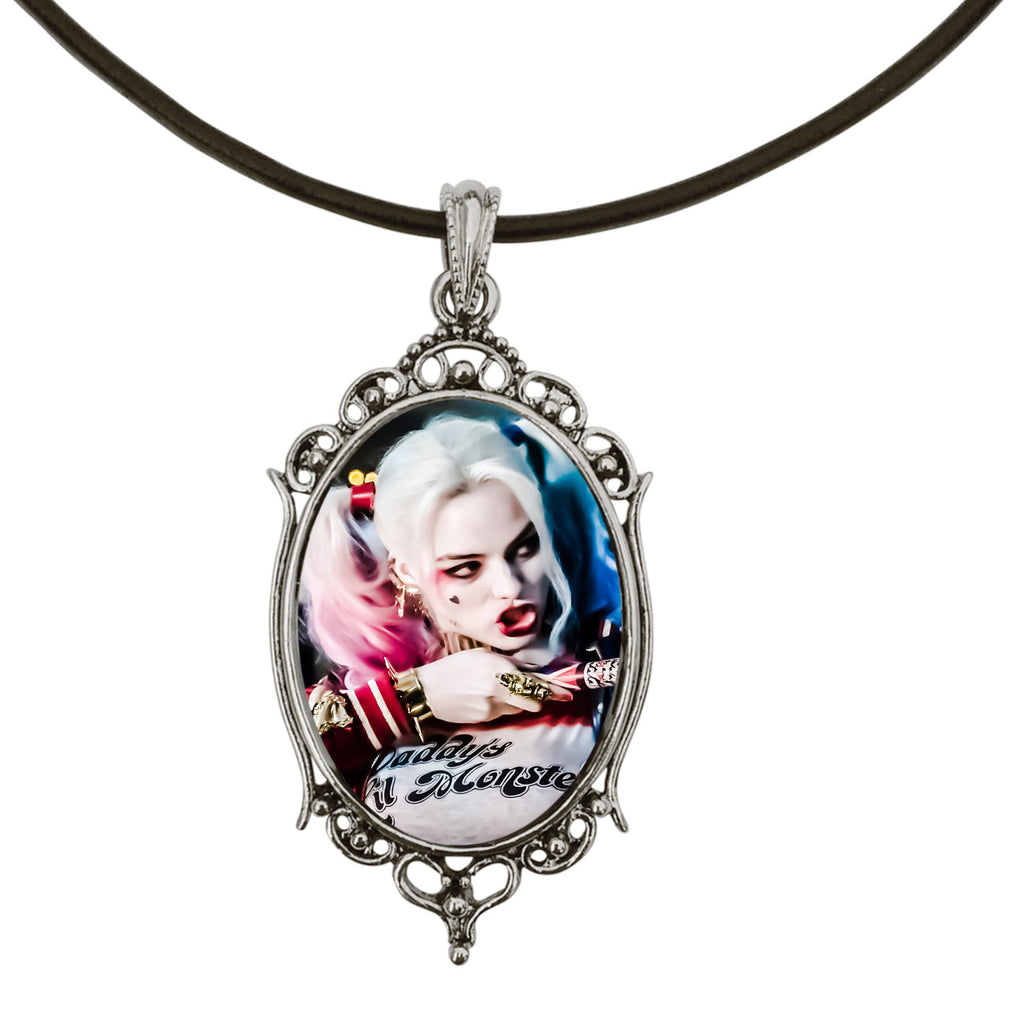 "DragonWeave Harley Quinn Bat (Suicide Squad) Antique Silver Cameo Pendant on 18"" Black Leather Cord Necklace"