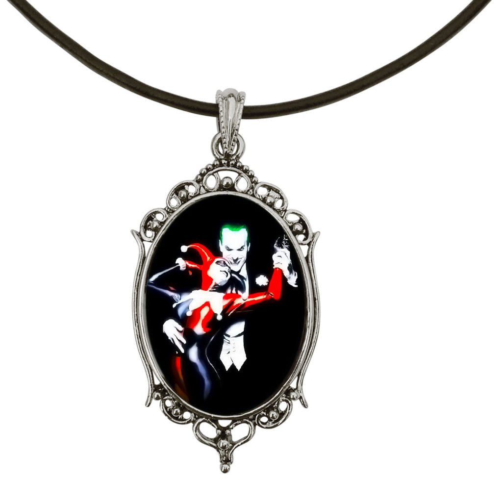 "Joker and Harley Quinn Antique Silver Cameo Pendant on 18"" Black Leather Cord Necklace"