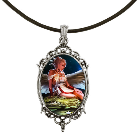 "DragonWeave Native/Nature Angel Antique Silver Cameo Pendant on 18"" Black Leather Cord Necklace"