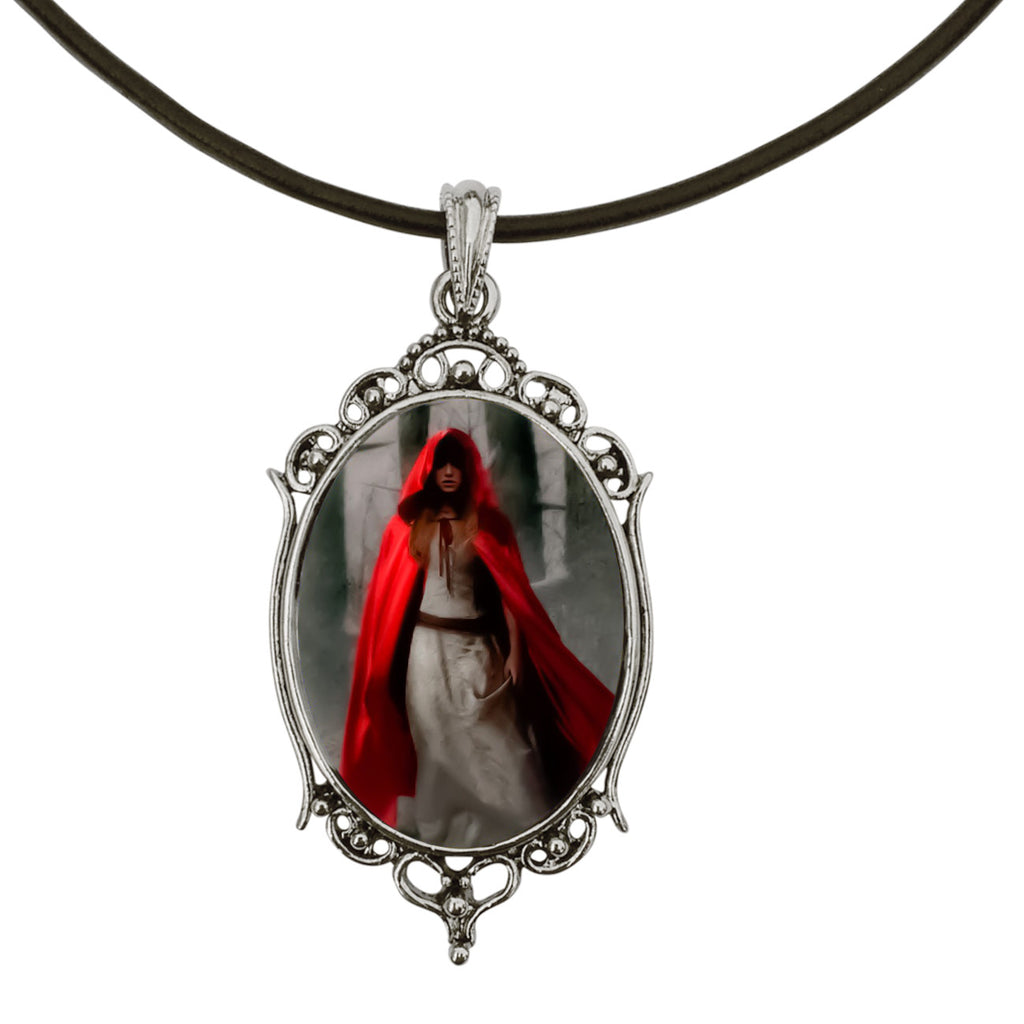 "DragonWeave Gothic Red Riding Hood Antique Silver Cameo Pendant on 18"" Black Leather Cord Necklace"