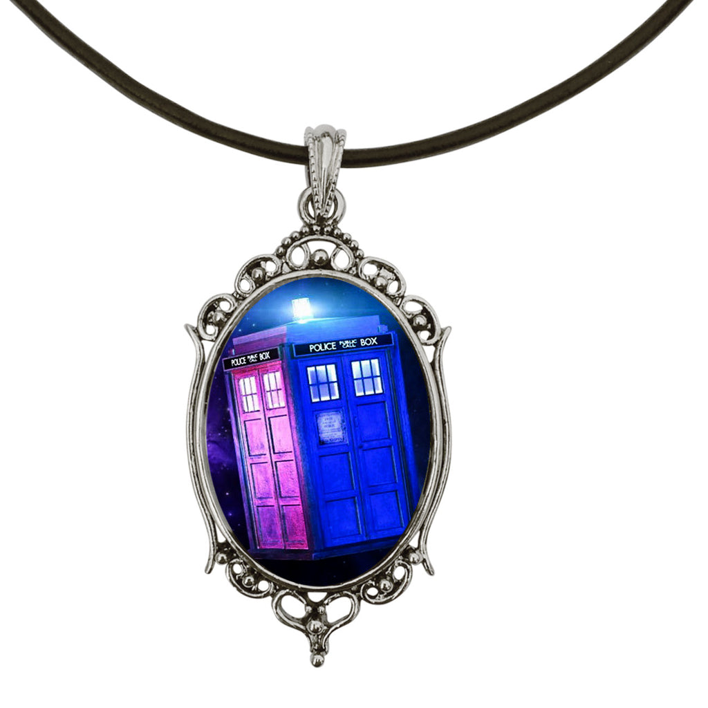 "DragonWeave TARDIS Doctor Who Antique Silver Cameo Pendant on 18"" Black Leather Cord Necklace"