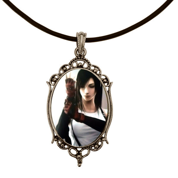 Tifa Lockhart Final Fantasy VII Video Game Antique Silver Cameo Pendant Necklace