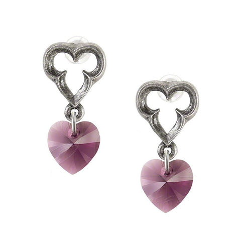 Elizabethan Amethyst Crystal Heart Earrings by Alchemy Gothic