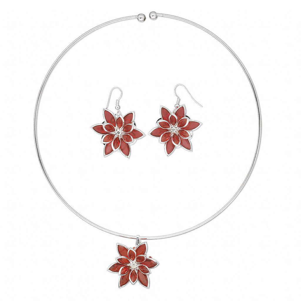 Christmas Holiday Poinsettia Red Flower Pendant Necklace and Earrings Set in Silver-Plated Steel