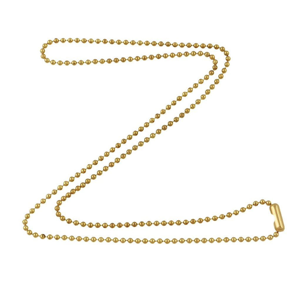 1.8mm Fine Gold Tone Brass Plated Steel Ball Chain Necklace with Extra Durable Color Protect Finish