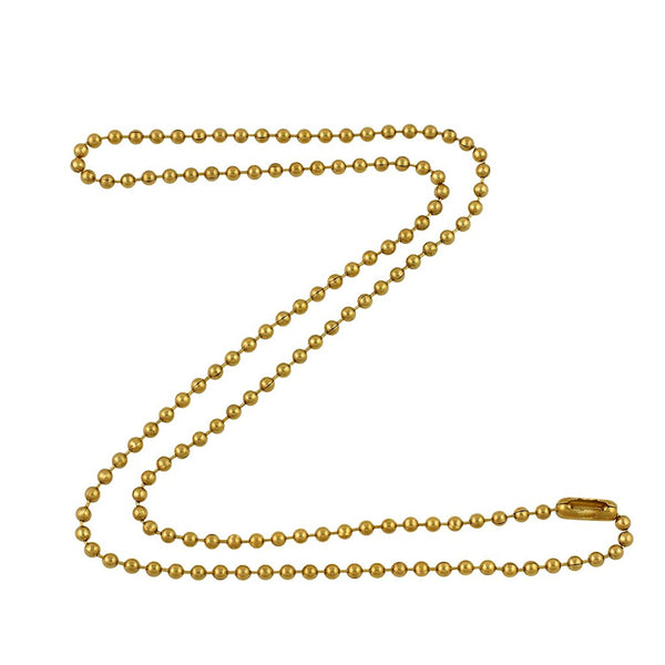 2.4mm Gold Tone Brass Plated Steel Ball Chain Necklace with Extra Durable Color Protect Finish