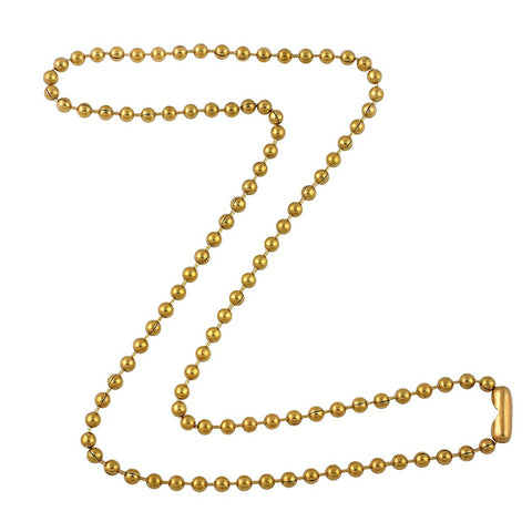 3.2mm Gold Tone Brass Plated Steel Ball Chain Necklace with Extra Durable Color Protect Finish