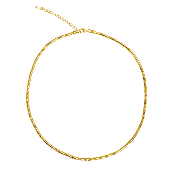 "Gold Plated 3.3mm Calypso Snake Chain Necklace with Extra Durable Protective Finish, 18""-20"""