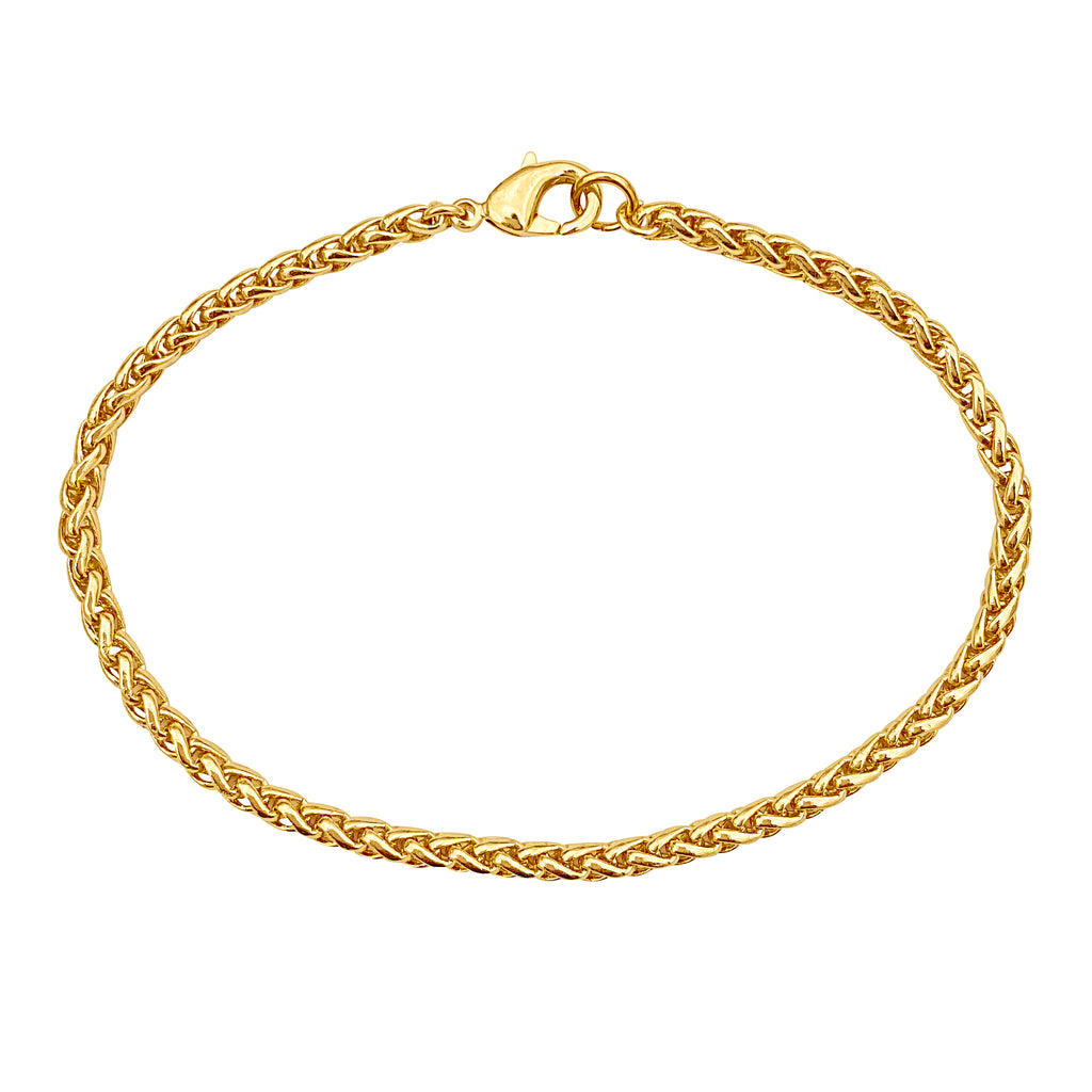 Gold 3.2mm Thick Ponytail/Foxtail/Wheat Weave Chain Bracelet