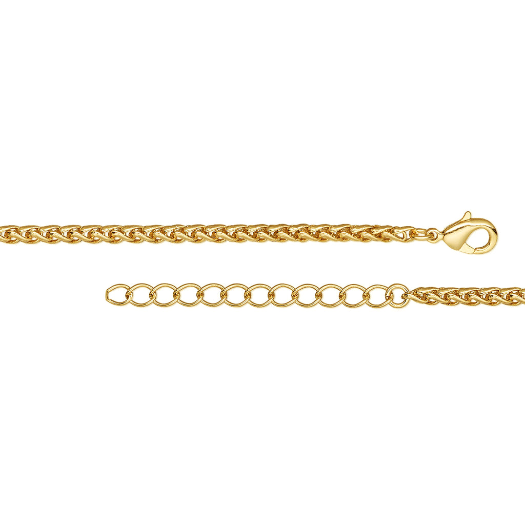 Gold 3.2mm Thick Ponytail/Foxtail/Wheat Weave Necklace Chain with Extender