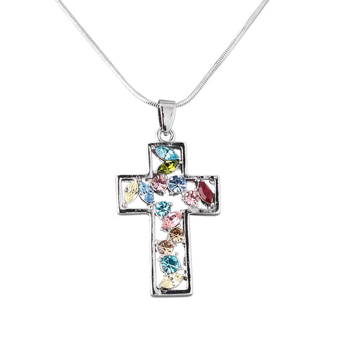 Multicolor Czech Glass Rhinestone Silvertone Cross Pendant on Steel Snake Chain Necklace