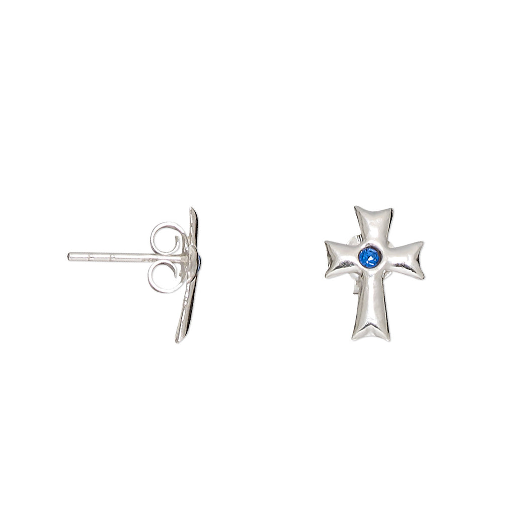 Petite Swarovski Crystal Sapphire Blue Cross Stud Earrings in Sterling Silver