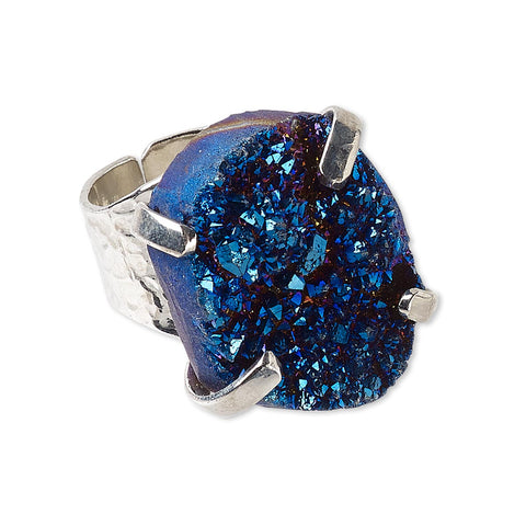 Adjustable Silver Plated Electric Blue Druzy Agate Gemstone Fashion Cocktail Ring