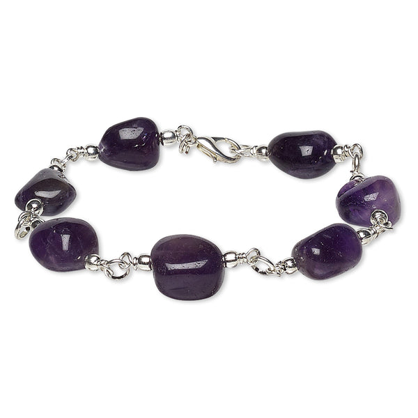 Natural Amethyst Nugget Bracelet with Silver Lobster Claw Clasp, 7 1/2""