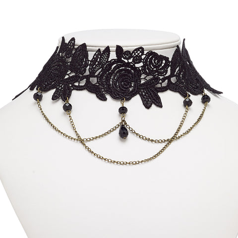 "Black Rose Lace Black Beaded Lolita Gothic Pendant Choker - 16"" with 2"" Extender"