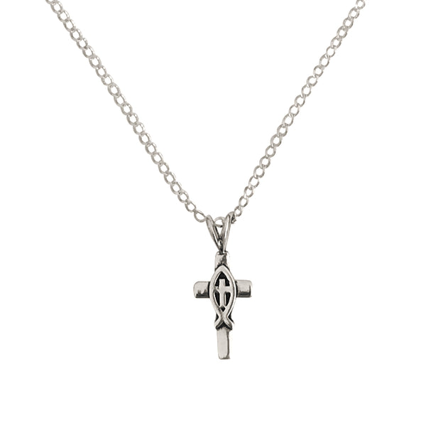 Ichthus/Ichthys Jesus Fish Cross Charm Pendant Necklace, Adjustable Sterling Silver