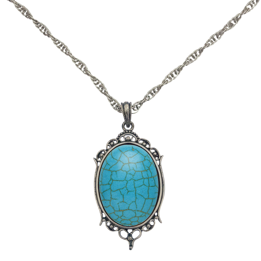Antique Silver Turquoise Resin Cabochon Pendant on Fancy Rope Chain Necklace, 24""