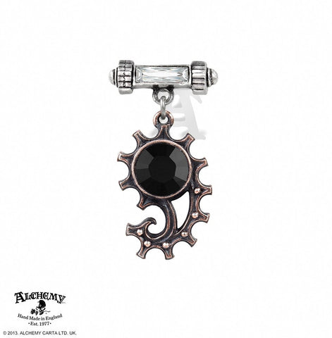 Alchemy Gothic Ingenieurial Elegance Black Crystal Single Earring