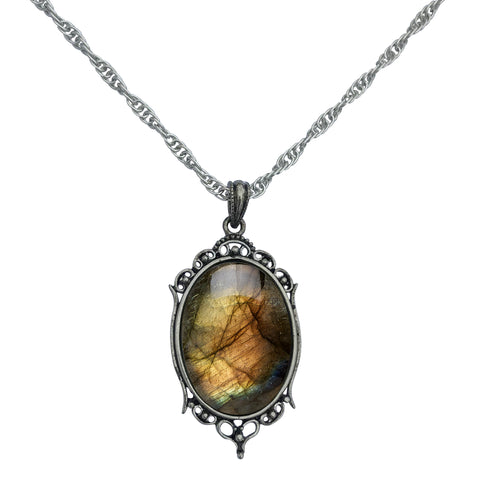 Antique Silver Labradorite Gemstone Cabochon Pendant on Fancy Rope Chain Necklace, 24""
