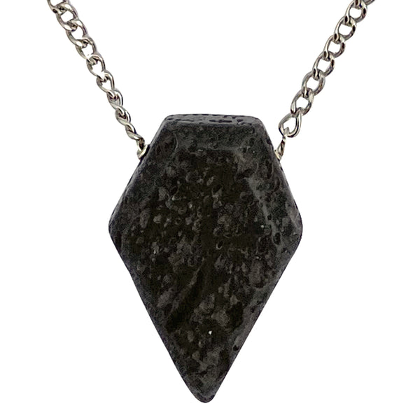 Modern Men's Genuine Black Lava Rock Arrowhead Pendant on Stainless Steel Chain Necklace, 27""