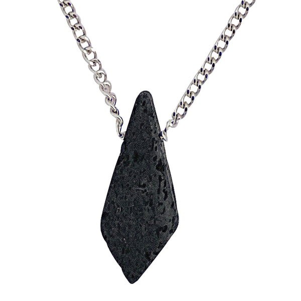Modern Men's Genuine Black Lava Rock Kite Pendant on Stainless Steel Chain Necklace, 27""
