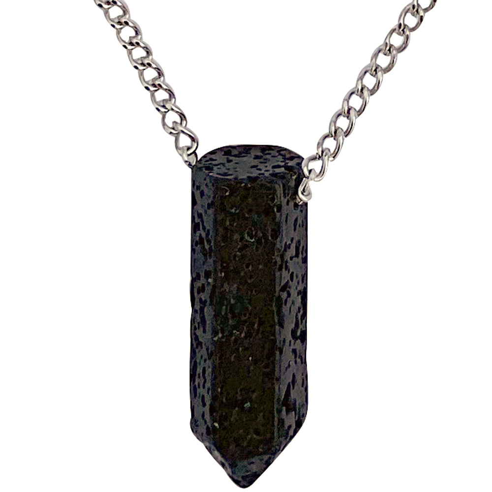 Modern Men's Genuine Black Lava Rock Point Pendant on Stainless Steel Chain Necklace, 27""